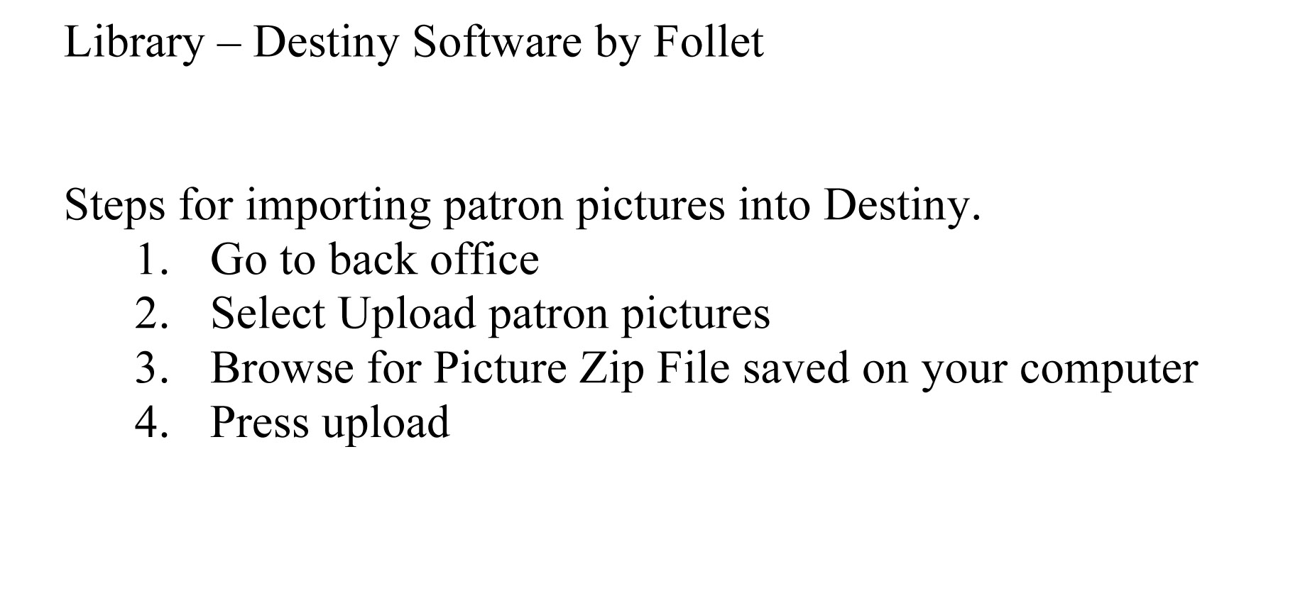 Import Pictures into Destiny by Follet