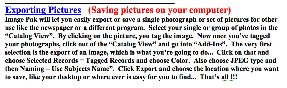School Image Pak - Exporting Photos